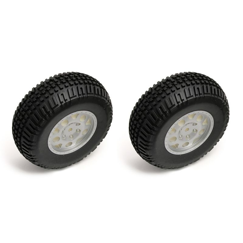 Tire/Wheels Rear Silver Sc10 (2)