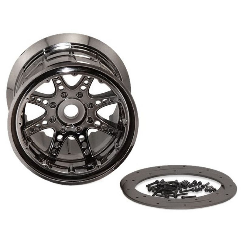 Axial 8 Spoke Beadlock Wheels (Black Chrome)