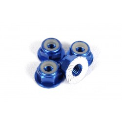 M4 Serrated Nylon Lock Nut (Blue) (4pcs)