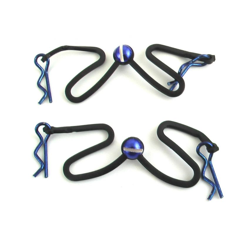 Body Clips with Fastened Rubber Leash (Blue)