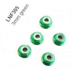 3mm Green Flanged Lock Nut (5)