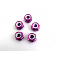 M4 Aluminum Locknuts with Nylon Inserts (5)(Purple)