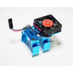 Clip-On Two-Piece Motor Heat Sink W/ Fan (Tamiya Blue)