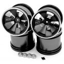 Black Aluminum 5 Spoke Wheels (4) Mlt