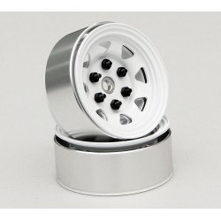 Stamped Steel 1.55 Stock White Beadlock Wheel
