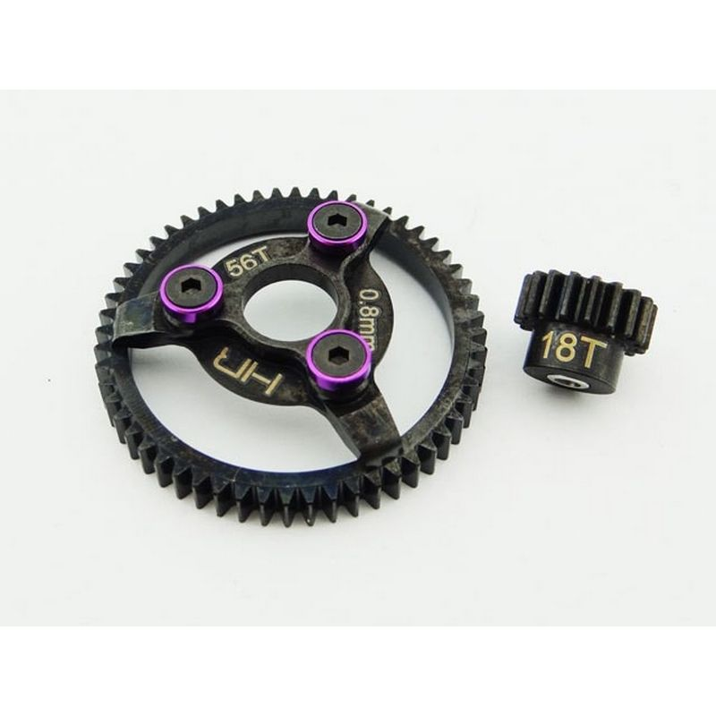 Hot Racing Steel Pinion and Spur Gear Set (18t/56t 32p)(Purple) - Traxxas [STE256]