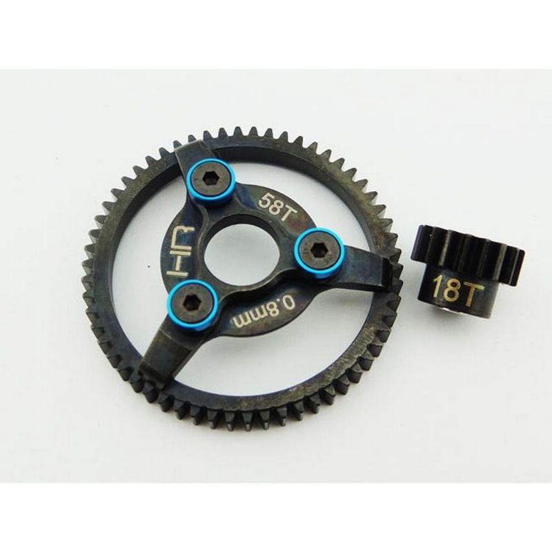 Steel Pinion and Spur Gear Set (18t/58t 32p)(Blue) - Traxxas