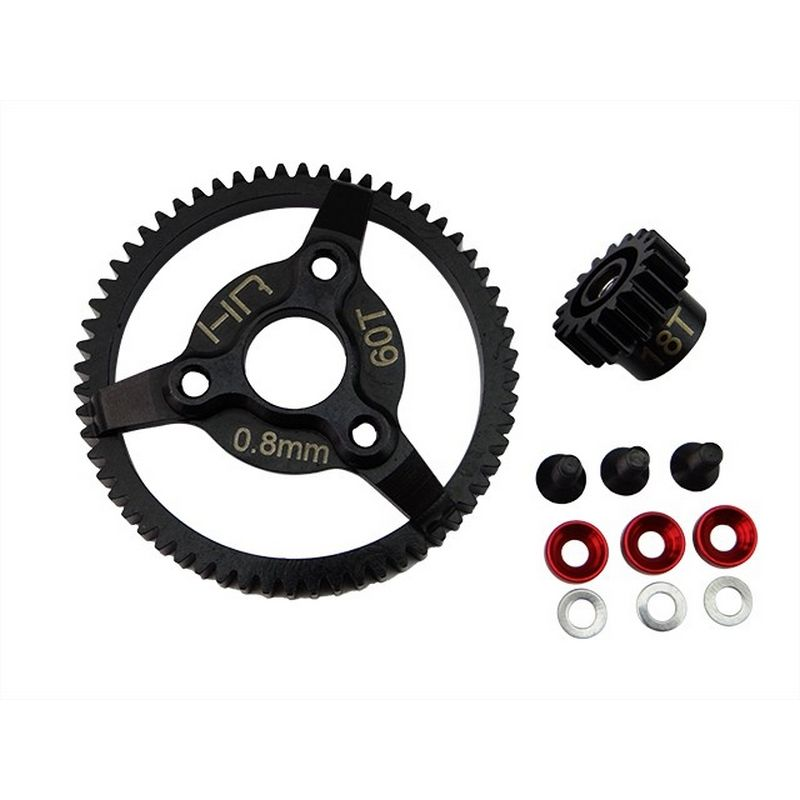 Hot Racing Steel Pinion and Spur Gear Set (18t/60t 32p)(Red) - Traxxas [STE260]