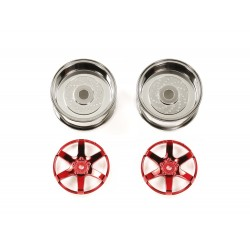 Red-Plated 2-Piece 6-Spoke Wheels 26mm Offset +6