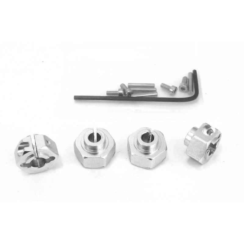 Aluminum 12mm Clamping Hex Wheel Hubs (Silver)(4)