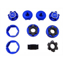 Blue Aluminum 24mm Hex Hub Wheel Lock Set