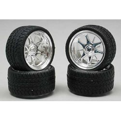 1/24-1/25 Daggars Chrome Rim/Tires (4)