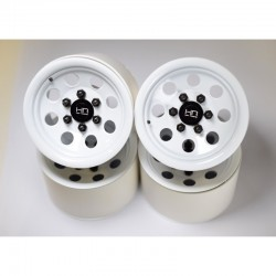 White Steel 2.2 Beadlock 6-Lug 8-Hole Wheels 12mm Hex (4)