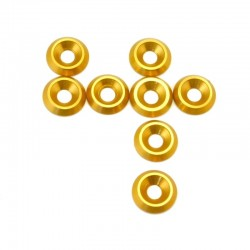 Gold Aluminum 4mm Countersunk Washer (8)