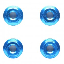 RC 4mm Aluminum Serrated Wheel Nut - 4pieced Blue