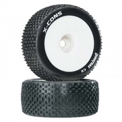 X-Cons 1/8 Truggy Tire C2 pre-mounted 1/2 Offset Wht (2)