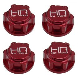 Red Aluminum 17mm Serrated Dirt Shield Wheel Nuts E-Revo 2.0