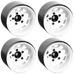 Deep Dish Wagon 1.55 Stamped Steel Beadlock Wheels (White)