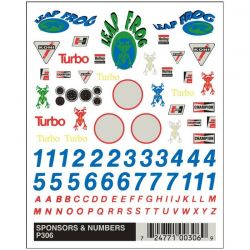 PineCar Sponsors & Numbers Dry Transfer Pinewood Derby Decals [P306]