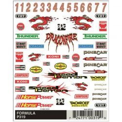 PineCar Formula Dry Transfer Pinewood Derby Decals [P319]