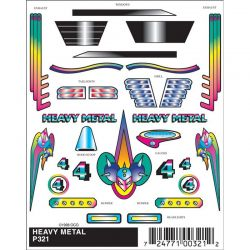 PineCar Heavy Metal Stick-On Pinewood Derby Decals [P321]