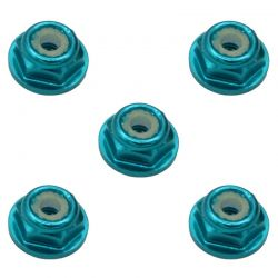 3mm Light Blue Flanged Lock Nut (5)