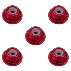 3mm Red Flanged Lock Nut (5)