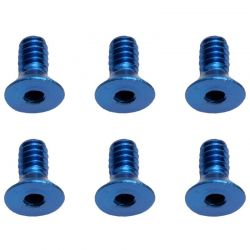 4-40x1/4in Blue Aluminum FHCS Flat Head Cap Screws (6)