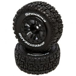 SpeedTreads Shootout SC Mounted Black: Traxxas Slash Front 2