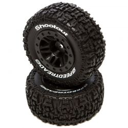 SpeedTreads Shootout SCMounted Black:Traxxas SL ECX R4X4 F/R