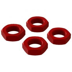 Aluminum Wheel Nut 17mm Red 4