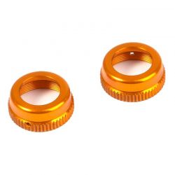 T4 aluminum Shock Cap Nut with Vent Hole - Orange (2)