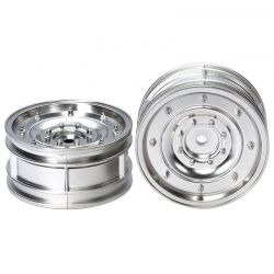 RC Matte Plated Dish Wheels - Silver 26mm Width/Offset +2