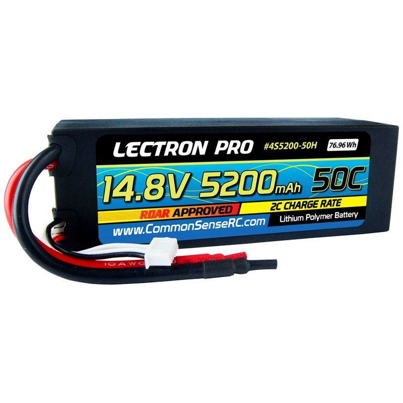 Common Sense RC Lectron Pro LiPo 4S 14.8V 5200mAh 50C ROAR Battery Bare Leads [4S5200-50H]