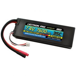 Lectron Pro 7.4V 7600mAh 35C Lipo Battery with Bare Leads