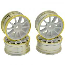 Medium Narrow 10 Sp Wheels White/Gold Rims/0