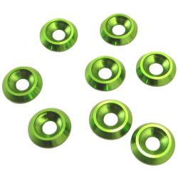 Green Aluminum 4mm Countersunk Washer (8)