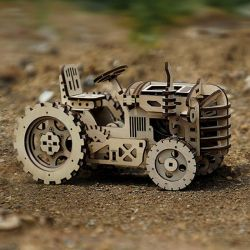 3d Wood Tractor with Wind Up Spring