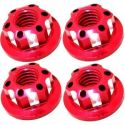 Red Aluminum M4 Serrated Wheel Nuts