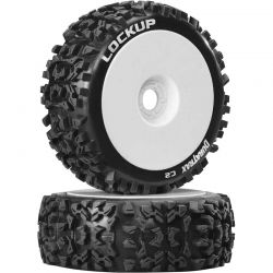 Duratrax Lockup 1/8 Buggy Tires C2 Mounted White (2) [DTXC3615]