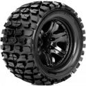 Tracker 1/10 Monster Truck Tire Black Wheel with 1/2 Offset 12mm