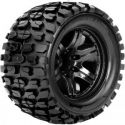 Tracker 1/10 Monster Truck Tire Black Wheel with 0 Offest 12mm H