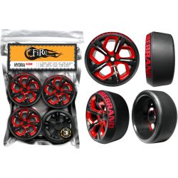 HYDRA XDR 1/10 WHEEL/TIRE SET OF 4 (RED)