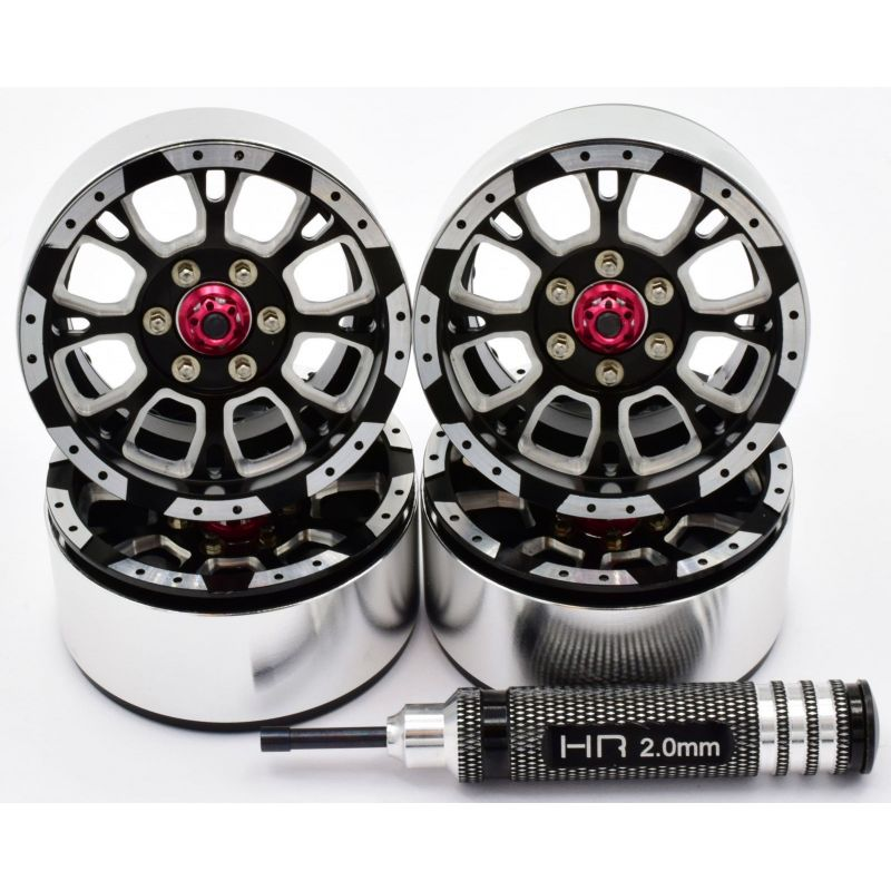 Hot Racing Aluminum Billet 1.9 Beadlock Wheels w/ 12mm Hex (C-Style) (4) [BLW19SLC01]
