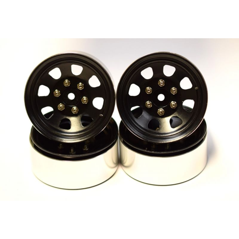 Black Steel 1.9 Beadlock 6-Lug Wagon Wheels 12mm Hex (4)