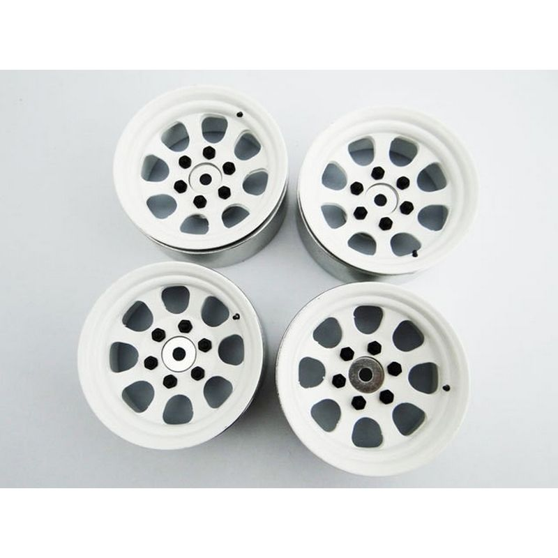 White Steel 1.9 Beadlock 6-Lug Wagon Wheels 12mm Hex (4)
