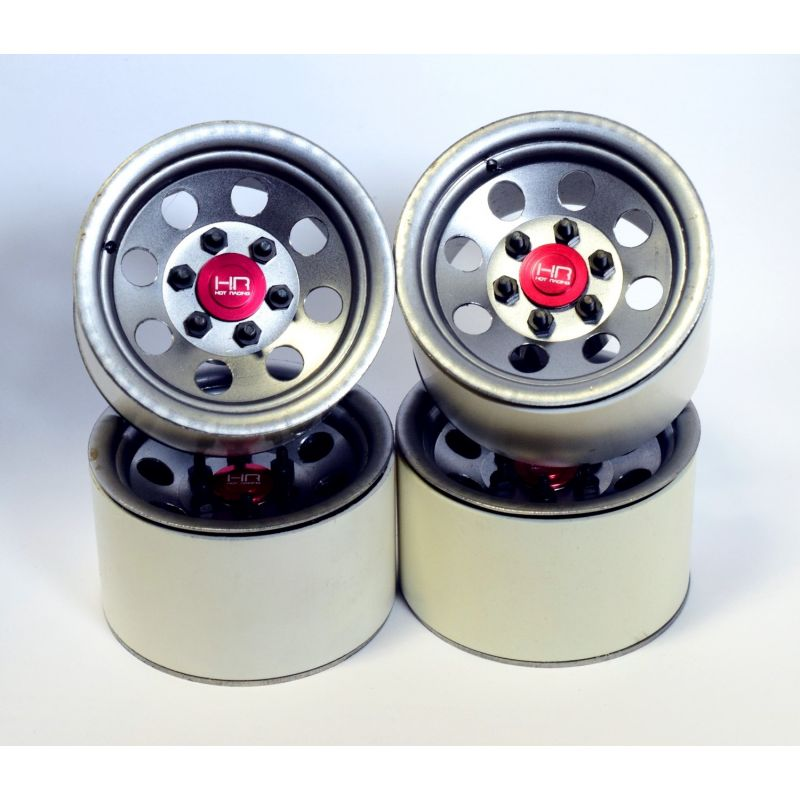 Hot Racing Raw Steel 2.2 Beadlock 6-Lug 8-Hole Wheels 12mm Hex (4) [BLW22H18]