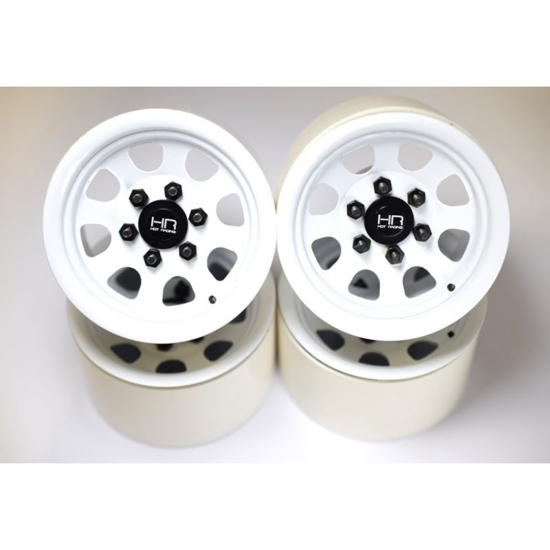 White Steel 2.2 Beadlock 6-Lug Wagon Wheels 12mm Hex (4)