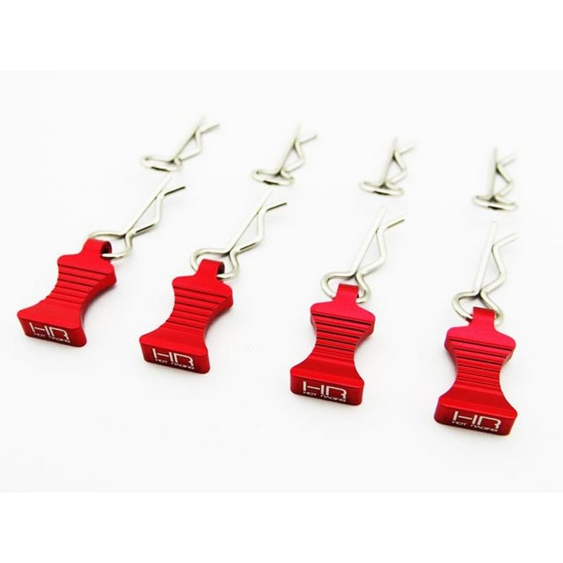 1/10 Red Aluminum EZ Pulls (4) Body Clips (8)