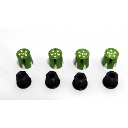 Aluminum Wheels Nut Caps and M4 Nuts (Green)(4) - Flat Head